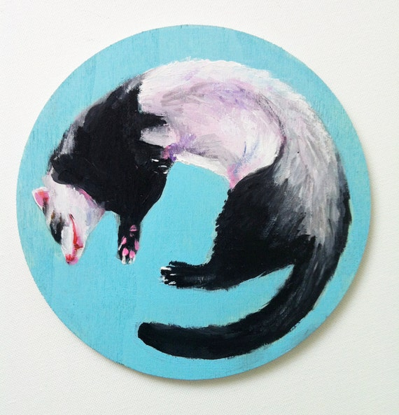 Sleepy  weasel / circle painting / ORIGINAL acrylic painting on circle  shaped wood / animal illustration / blue / black/ white