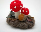 Needle Felted Small Understory With Mushrooms