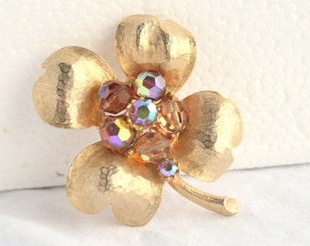 Four Leaf Clover Brooch Vintage AB Crystals Pin Textured Gold Finish Signed Expan
