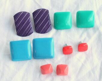 1980s Earrings Lot Vintage New Wave 5 Pair Multicolor Retro Destash Lot