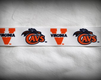 "University of Virginia Cavaliers 1.5"" Grosgrain Ribbon 5 yards free shipping"