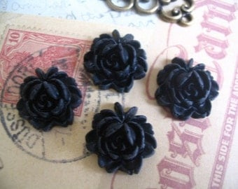 5pk... Black 18mm Rose Resin Flower Cabochons.