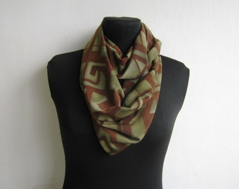 Infinity Scarf -  Handmade Circle Scarf in brown gold and green geometric pattern