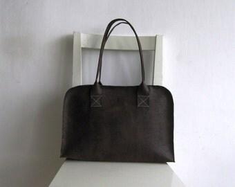 Brown  Vegan Leather Tote