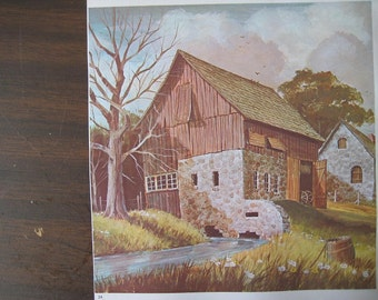 Great Old Vintage Print of Barns. FREE U.S. SHIPPING