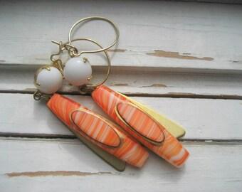 Beetle Wings mod deco earrings, orange and white dangle earrings