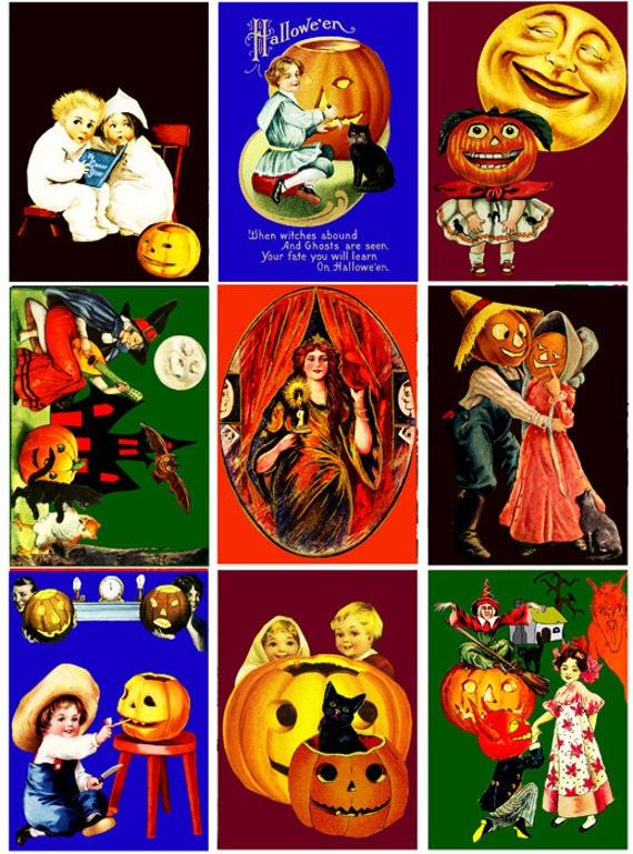 Vintage Halloween clip art collage sheet digital graphics 2 3/8  x 3 3/8 inches crafts scrapbooking children jacko lantern witches printable