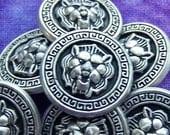 Roman Lion Metal Buttons 15mm - 5/8 inch Vintage Silver Tone Lion Face Buttons - 7 VTG NOS Carved Classic Antiqued Silver Lion Buttons MT04