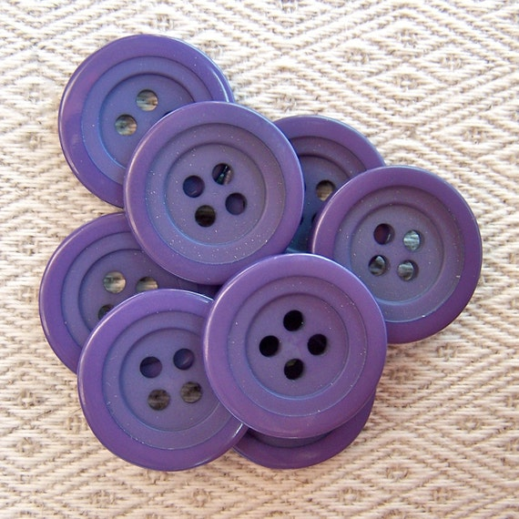 "vintage sewing buttons Deep Deco Purple stepped 3/4"" x8"