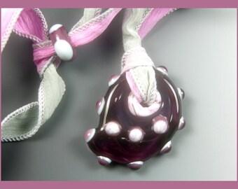 BirdDesigns Lampwork Necklace on Adjustable Silk Ribbon- ooak - J536