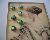 Vintage Swarovski Charms 6 Emerald AB Teal Rhinestone 1 Loop Connector