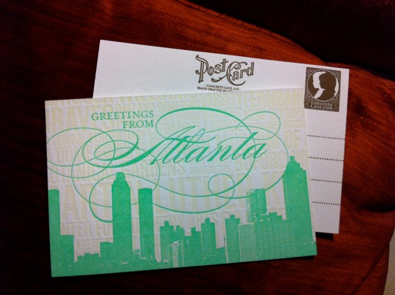 Atlanta Letterpress Postcard-- individual postcard - Colors will vary