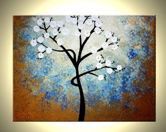 Original Abstract Tree Painting, TEXTURED Cherry Blossom Flowers, Abstract 2ft Metallic WHITE Impasto FLORAL, 18x24 by Artist Dan Lafferty