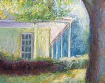 Farmhouse Painting, 7 x 9 Original Oil Pastel Painting, Sunlit Afternoon I by Bethany Bryant