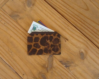 Zippered Pouch in a Giraffe Batik Print - Credit Card Size