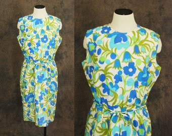 CLEARANCE vintage 60s Dress - Blue and Green Garden Floral 1960s Wiggle Dress Sz M L