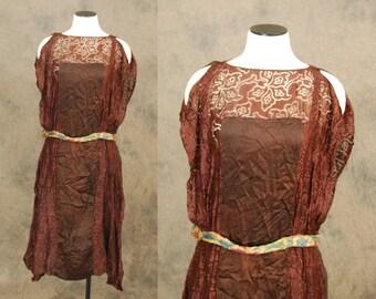 vintage 20s Flapper Dress - 1920s Brown Lace Silk Drop Waist Dress Sz XS