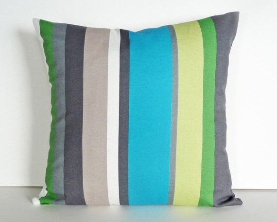 Colorful Patio Pillows Blue Green Grey Striped Cushion