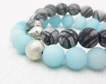 Baby Blue Jade Bracelet in Sterling Silver / Sky Blue Pastel Matte Jade / Spring Summer Fashion /  Powder Blue Stacking Bracelet