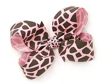Pink Giraffe Hair Bow, Animal Print Boutique Bow, 3 inch Hairbow, No Slip Hairbow for Baby Toddler Girls, Handmade
