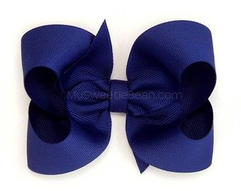 Royal Blue Hair Bow, 4 inch Boutique Bow, Girls Hairbow, Basic Hairbow, Back to School Uniform, Dark Blue