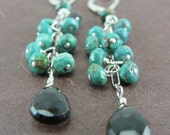 Turquoise and Smokey Quartz Cluster Cascade Earrings by Screaming Peacock Jewelry