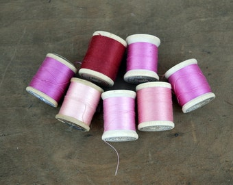Lot of Vintage Thread- Pink and Red