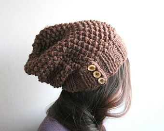 Slouch knit hat, button slouch (Choose Your Own Colour)