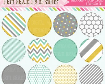 50% OFF SALE Aqua Gold and Gray Circle Frames Clipart Clip Art Personal & Commercial Use