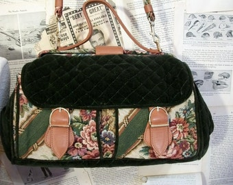 Velvet Quilted Carpetbag Green Floral Doctors bag