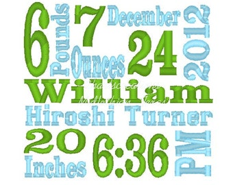 Custom Birth Announcement Embroidery Design - 3 digital files-----DIGITIZING SERVICE-----