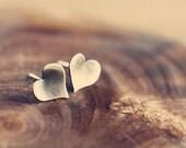 Simple post earrings - tiny earrings - hearts - silver earrings