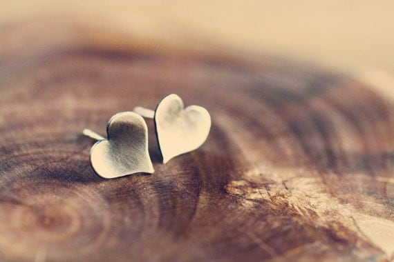 Simple post earrings - tiny earrings - hearts - silver earrings