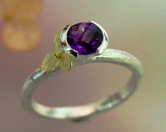 Amethyst Stacking Ring, Rose Cut Amethyst, Purple Gemstone, 18k Gold Hydrangea, Sterling, February Birthstone, Unique, Made to Order