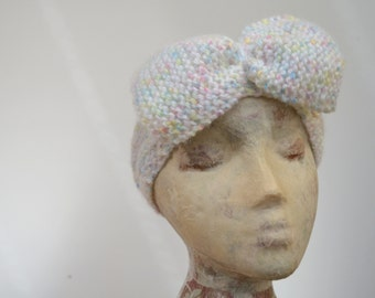 Knitted headband with large bow. Sale.