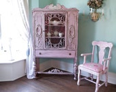 custom order antique china cabinet shabby chic pink distressed cottage prairie OMG