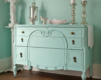 custom order antique dresser shabby chic distressed aqua blue cottage prairie beach coastal