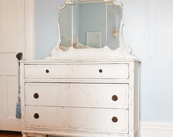 CUSTOM ORDER antique dresser shabby chic white distressed cottage prairie vintage so pretty