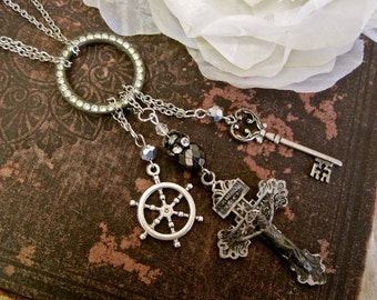 Smooth Sailing Ahead:  Vintage Assemblage Necklace Antique Rosary Cross Ship Wheel Key Crystals Extra Long Boho Bride Wedding One of a Kind