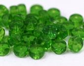 10 Vintage Glass Rondelle Faceted Pistachio Green Beads  ( 8x4 mm ) cv28