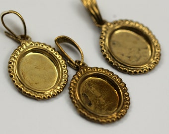 10 Vintage Raw Brass Brass Pendant Setting With 10x8 Mm Cameo Base