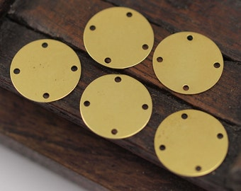 Brass 4 Holes Connector, 20 Raw Brass With 4 Holes Connectors, Findings (16mm) Brs 67 A0621