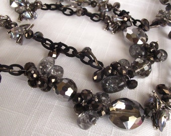 SALE Long Strand Black Pearl Silver and Grey Crystal Bold Statement Chain Necklace,Chain Necklace,Unique Chic Casual Elegant Day to Night