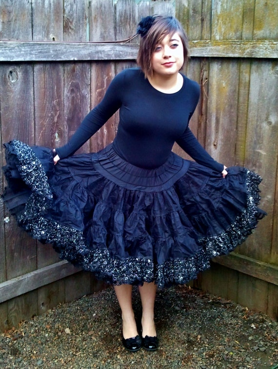Black and Silver Square Dance Petticoat Skirt and Ruffled Bloomers reserved for cassie76