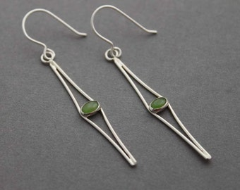 Sterling Silver Nephrite Jade earrings dangles drops boho indie fashion accessories -  Cats Eyes