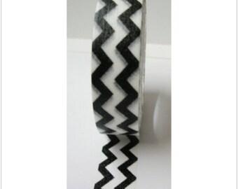Cute Black Zigzag Pattern White Washi Paper Deco Tape
