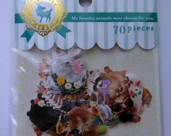 Cute Real Animals Japanese Sticker Flakes Set - Rabbit, Deer Fawn, Lamb, Hedgehog, Pig, Bear, Raccoon, Hamster, Hare, Parrot, Flowers, Bow
