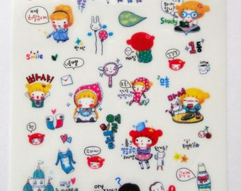 Cute Pippi Princess Girl Plastic Stickers From Korea - Flowers, Music, Book, Fairytale, Presents, Food, Castle, Prince, Beauty & Beast