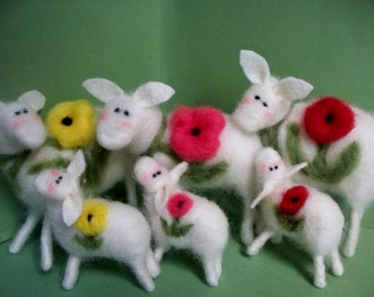 Bloomin Ewe and Lamb (1 set)  Felted Wool Sheep - NEW for 2013