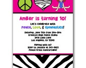 15 Peace Love and Gymnastics Invitations for Kids Birthday Party